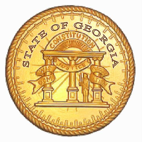 W32142 - Great Seal of Georgia Wall Plaque, Gold Leaf over Metallic Gold Paint