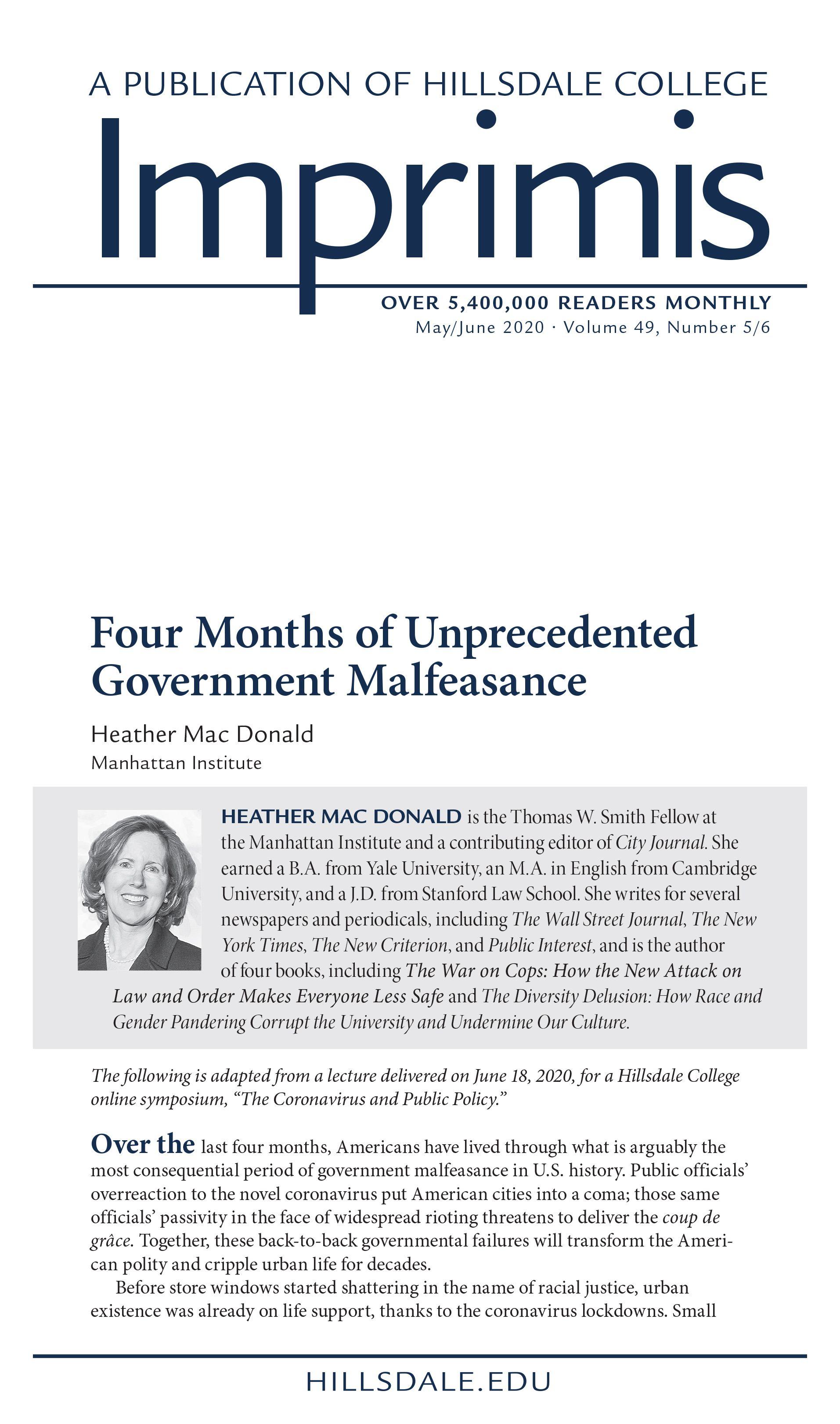 Provocative Piece by Economist Heather Mac Donald: Four Months of Unprecedented Government Malfeasance