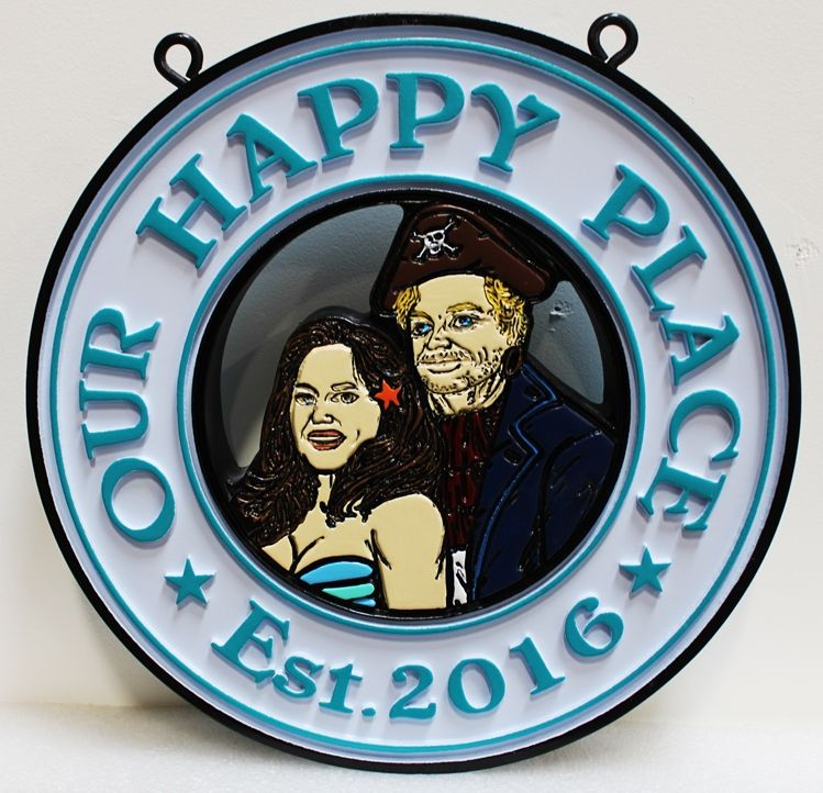 """L21930 - Carved  HDU Coastal Residence Name Sign """"Our Happy Place"""", with Faces of Couple, 2.5-D Artist-Painted"""