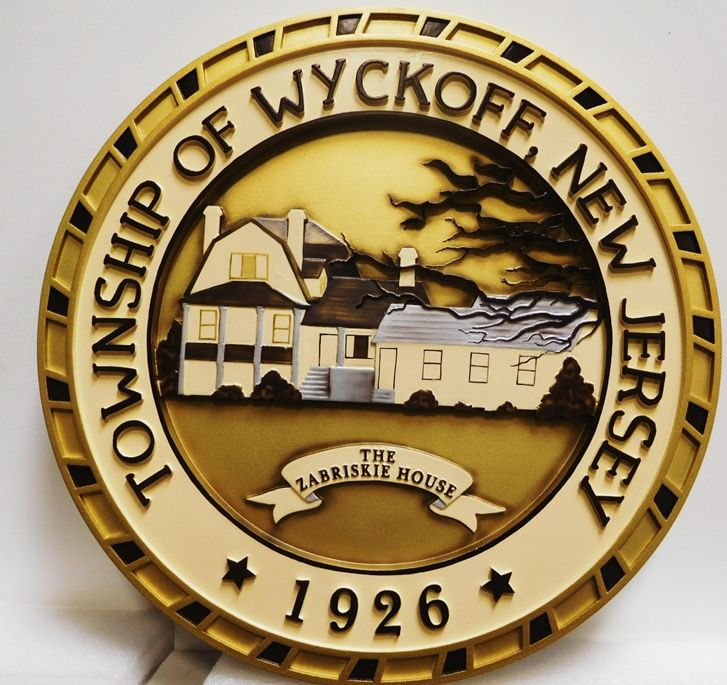 DP-2390 - Carved Wall or Podium Plaque of the Seal of the Township of Wykoff, New Jersey, 2.5-D Multi-Level Raised Relief, Artist-Painted.