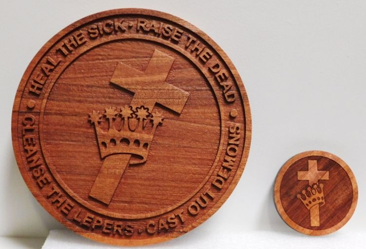 UP-1137 - Carved Plaque of Christian Religious Emblem (Cross & Crown), 2.5-D Multi-Level Relief  Atained Redwood