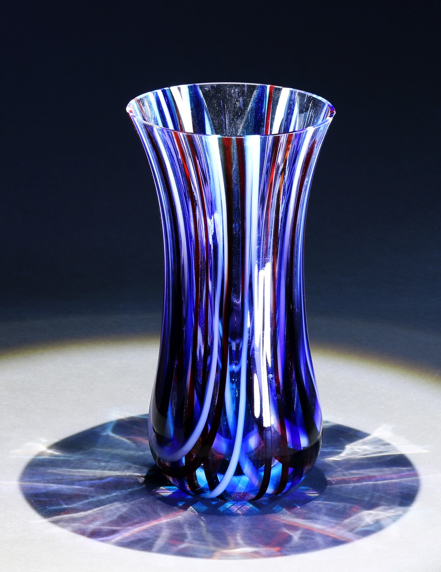 Red, White and Blue striped vase