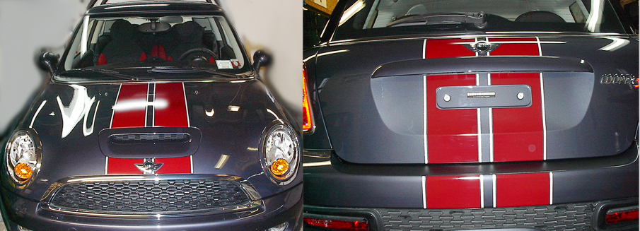 Custom Wide Sport Stripes on MINI Cooper S