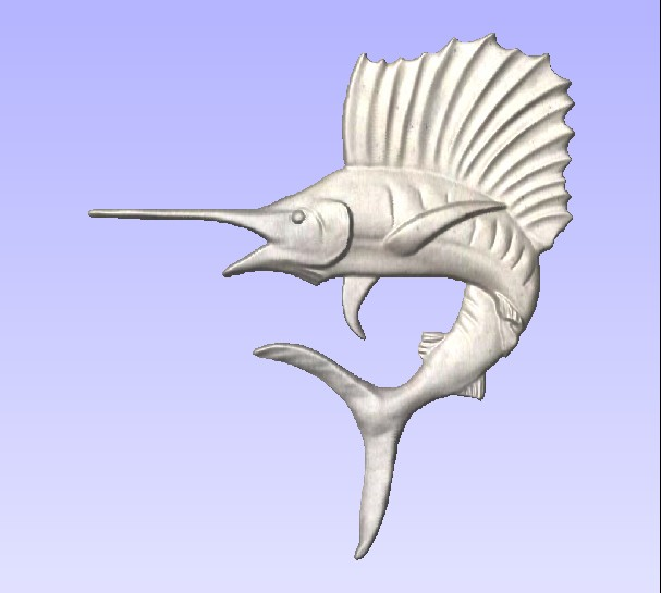 M2997 - Carved Sailfish, painted Metallic Silver (Gallery 20)