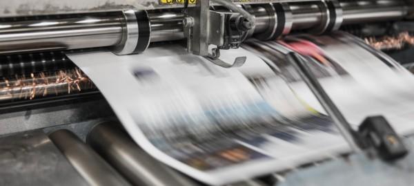 Industrial printer printing marketing material