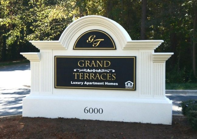 "K20045- Elegant  Monument Entrance Sign for ""Grand Terraces"" Luxury Apartments."