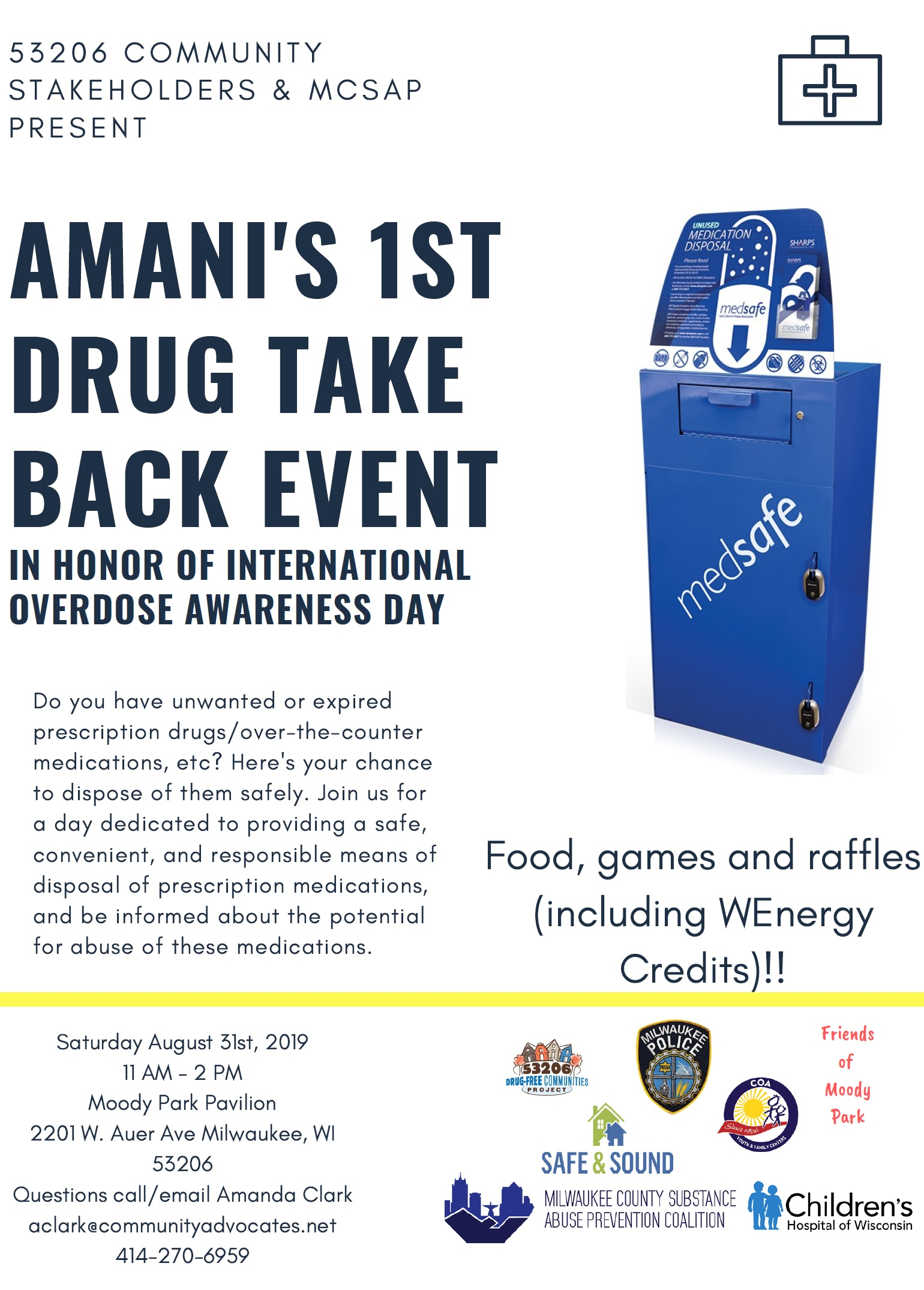 Amani Residents Ask for Drug Take-Back Opportunity & 53206 Stakeholders and MCSAP Respond with August 31 Event in Moody Park