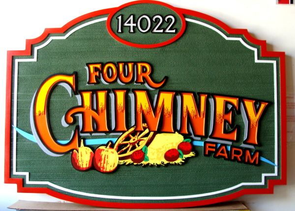 """O24708 - Carved HDU Entrance Sign  to """"Four Chimney"""" Fruit and Vegetable Farm"""