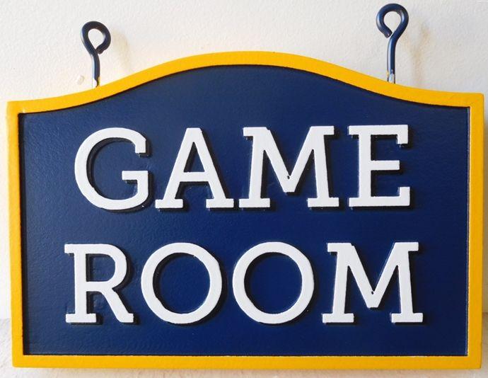 """KA20609  Carved HDU """"Game Room """" Hanging Sign"""