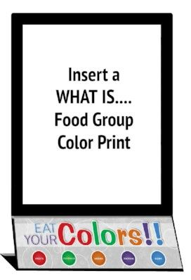 Counter top menu board for Eat Your Colors, easy display of nutrition facts, easy change paper holder