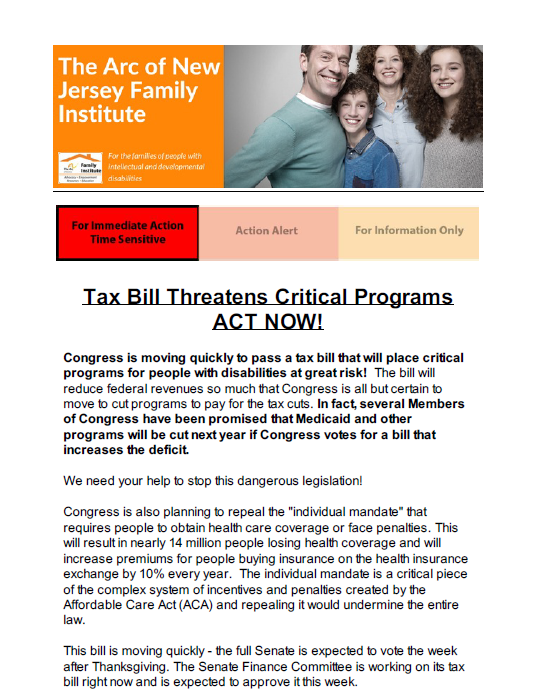 Tax Bill Threatens Critical Programs - Act Now 11.16.2017