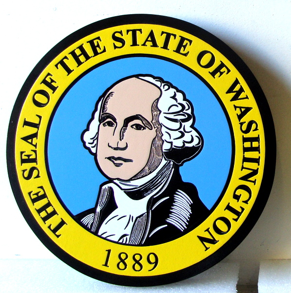 BP-1550 - Carved Plaque of the Seal of the State of Washington, Artist Painted