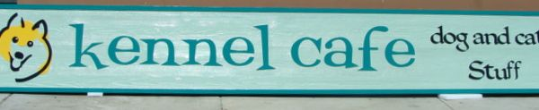 """S28040 - Sign for the """"Kennel Cafe, Dog and Cat Stuff"""" , with Image of Smiling Dog"""