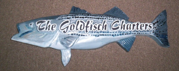 """SA28646 - Carved 3-D Sign in the Shape of a Fish, for """"The Goldfisch Charters"""", a Charter Boat Fishing Company"""
