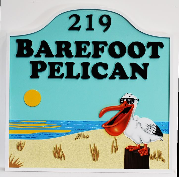 """M1238 - """"Barefoot Pelican"""" Property Name and Address Sign"""