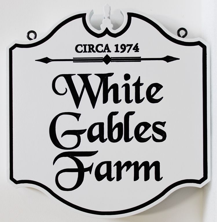 O24046 -  Elegant Carved Colonial-style Sign for the White Gables Farm