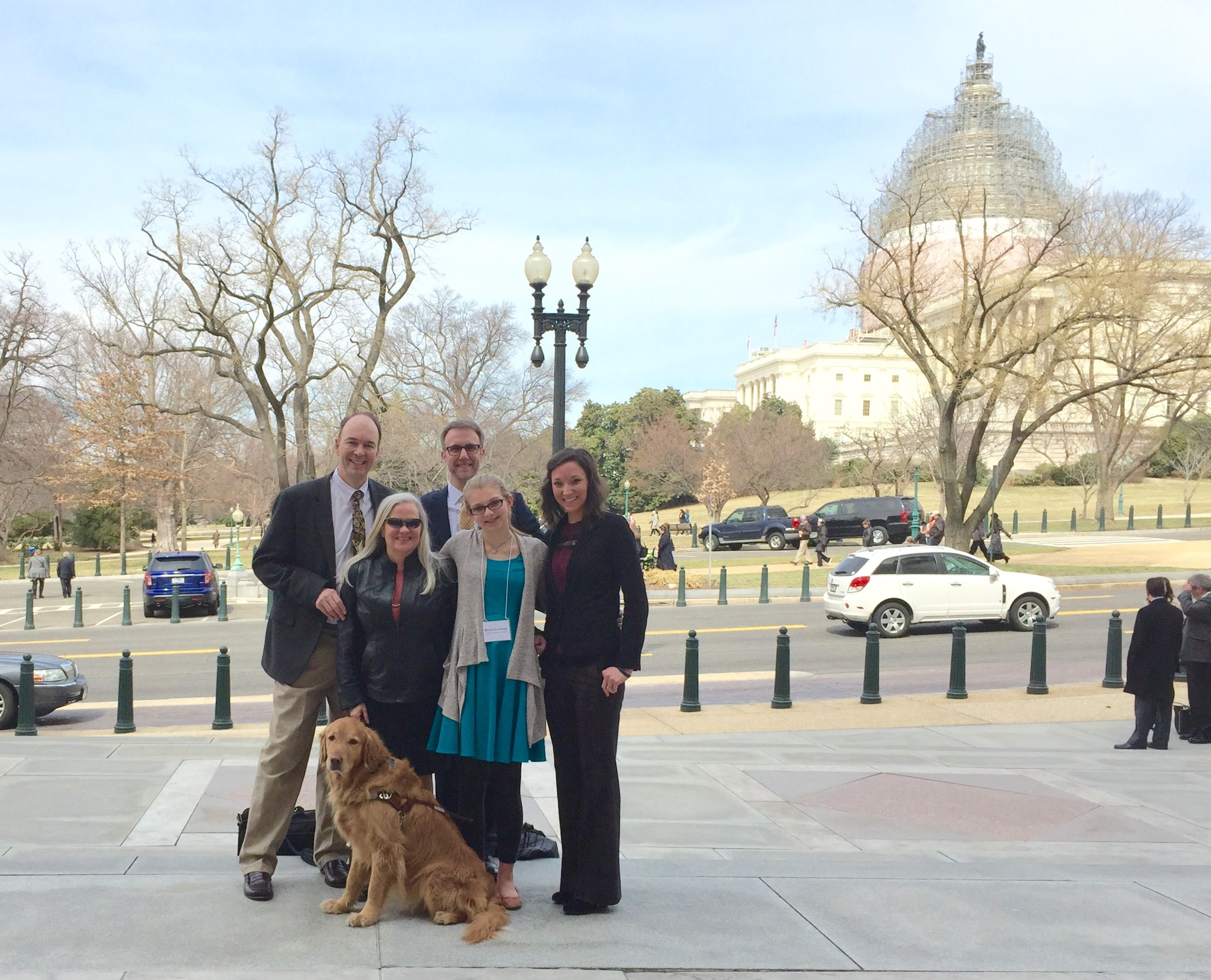 A picture of Mark Dunning, Dr. Edwin Stone, Bella Dunning, Moira M. Shea, and Krista Vasi in Washington DC
