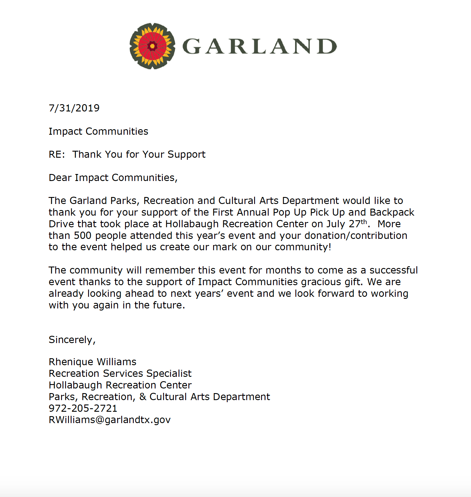 The Garland Parks, Recreation and Cultural Arts Department