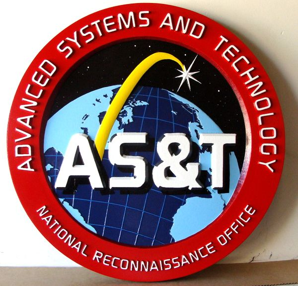 AP-3140 - Carved Plaque of the Seal of the Advanced Systems & Technology, National Reconnaisance Office (NRO),  Artist Painted