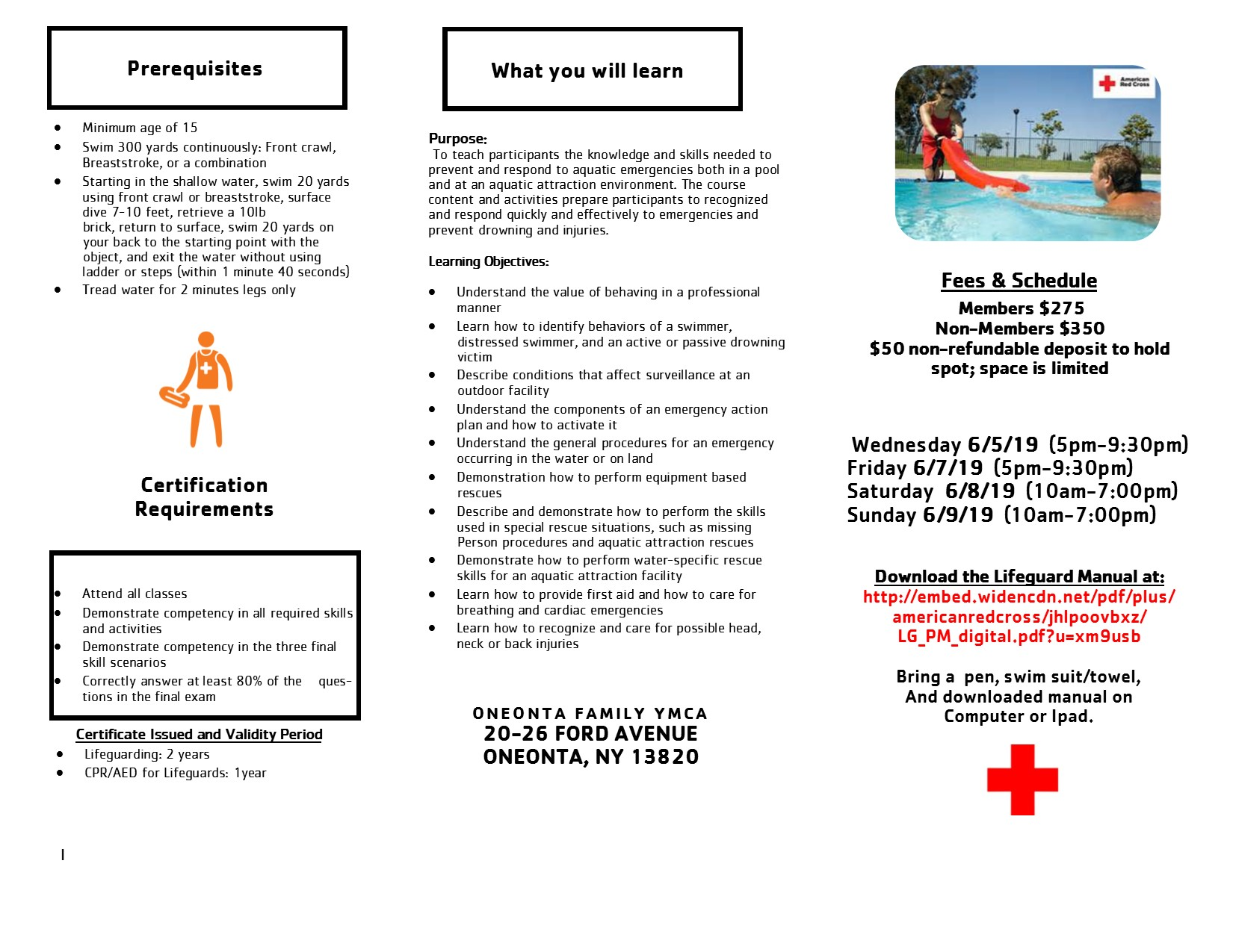 4706ab64bbf0 Oneonta Family YMCA   PROGRAMS   AQUATICS   Red Cross Course Info