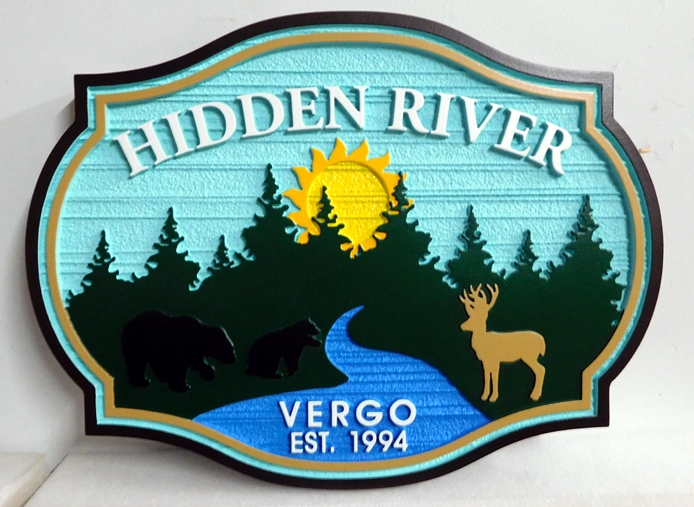 "M22384 - Carved and Sandblasted HDU Sign for ""Moon River View"" Cabin with River, Evergreen Forest, Deer and Setting Sun"