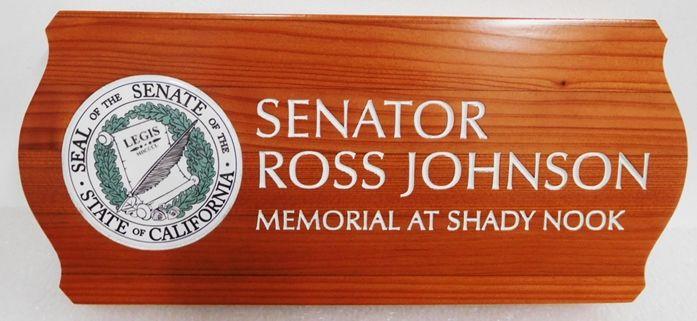 GC15575 - Carved and Sandblasted Redwood Custom Memorial Wall Plaque honors Senator Ross Johnson