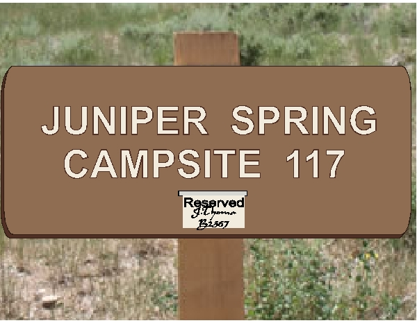 G16165- Campground Campsite Sign with a Clip for Attaching a Paid Permit or Reserved Sign