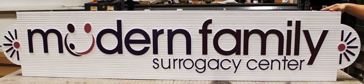 """B11217 - Carved and Sandblasted Wood Grain HDU Sign for the """"Modern Family Surrogacy Center"""""""