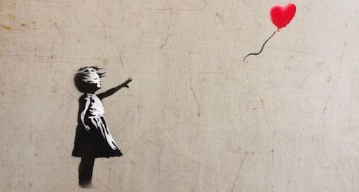 Girl with Balloon (also, Balloon Girl or Girl and Balloon) is a 2002-started London series of stencil murals by the graffiti artist Banksy, depicting a young girl with her hand extended toward a red heart-shaped balloon carried away by the wind.
