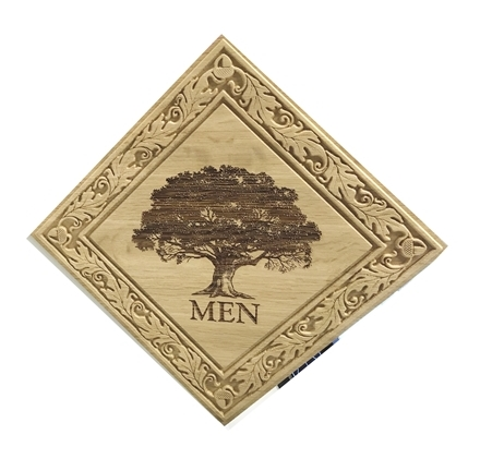 KA20630 - Elegant Carved Maple Restroom Sign, with Engraved Tree and  Ornate Border
