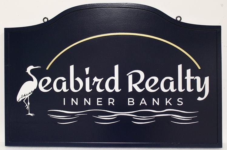 "C12319 - Carved High-Density-Urethane (HDU) Hanging Sign for ""Seabird Realty - Inner Banks"""