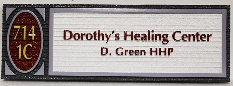 B11171 - Carved and Sandblasted Wood Grain HDU  Sign for Dorothy's Healing Center