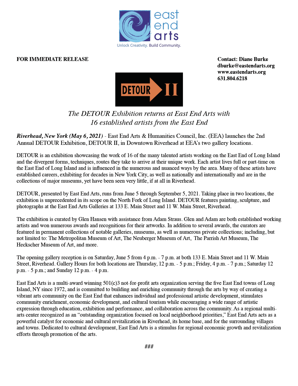Click here for a PDF of the DETOUR II press release>>