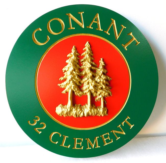 M22069 - Cabin Name Sign (Round) with 3-D Pine Trees