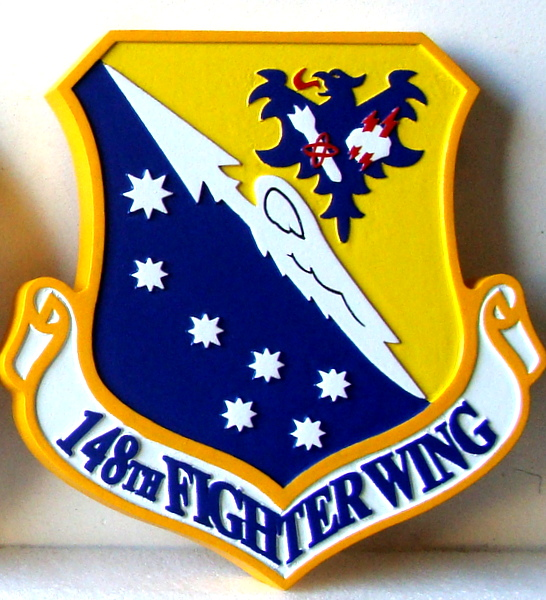 LP-2020 - Carved Shield Plaque of the Crest of the 148th Fighter Wing, Artist Painted