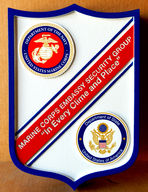 M1307 - Carved HDU  Wall Plaque of the Shield for the Marine Corps Embassy Group (Gallery 31)