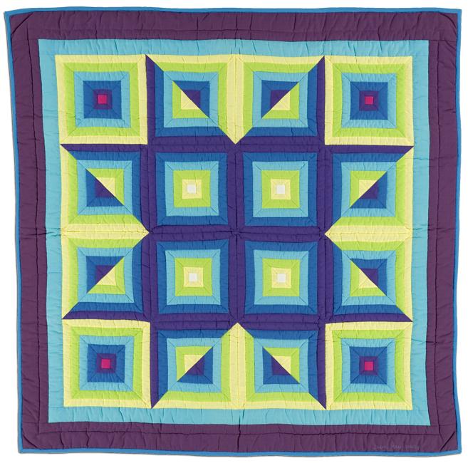 'Log Cabin Variation #5,' c. 1980, machine pieced, 50.5 x 51.25 in, IQSCM 2010.014.0011