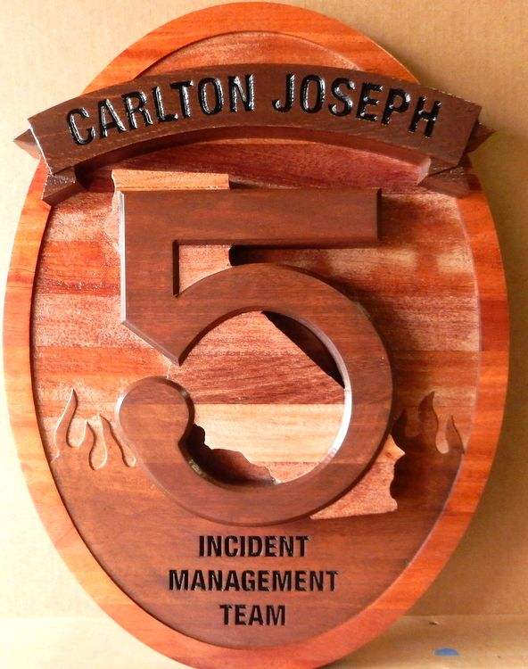 "QP-3130 - Carved Wall Plaque of  the Seal/Emblem  of the Carlton-Joseph Incident Management Team ""5"", California,  Cedar Wood"