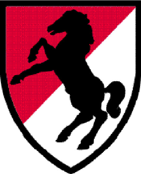 "MP-1760 -  Carved Plaque of the Insignia of the 11th Armored Cavalry ""Black Horse""  Regiment of the US Army,  Artist Painted"