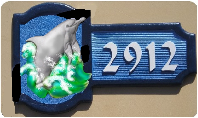 M2410 - Carved Leaping Dolphin Address Plaque