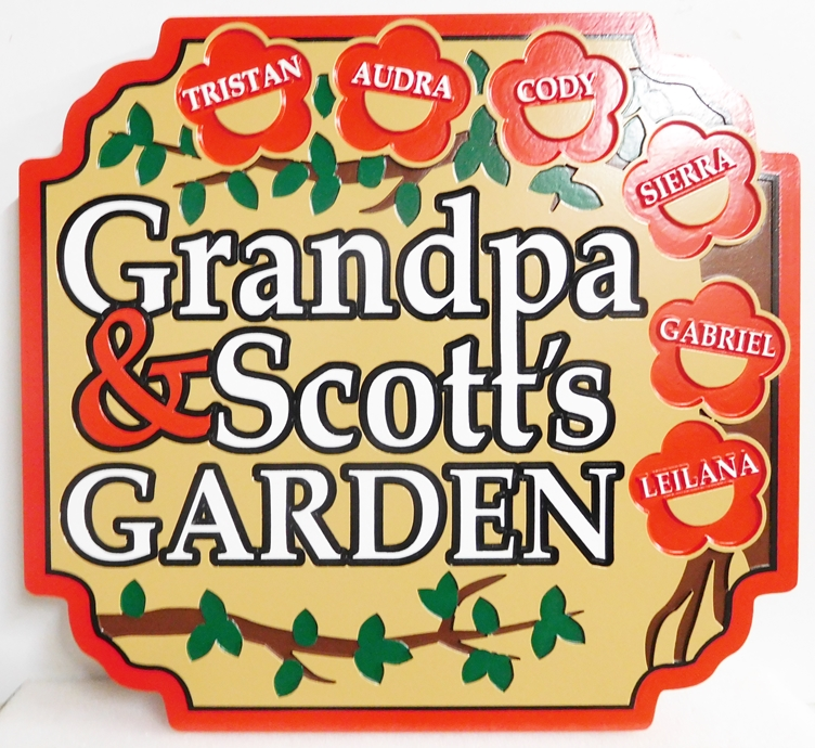 "GA16701 - Carved Residential Garden Sign ""Grandpa & Scott's Garden"" , with Names of 6 Grandchildren"