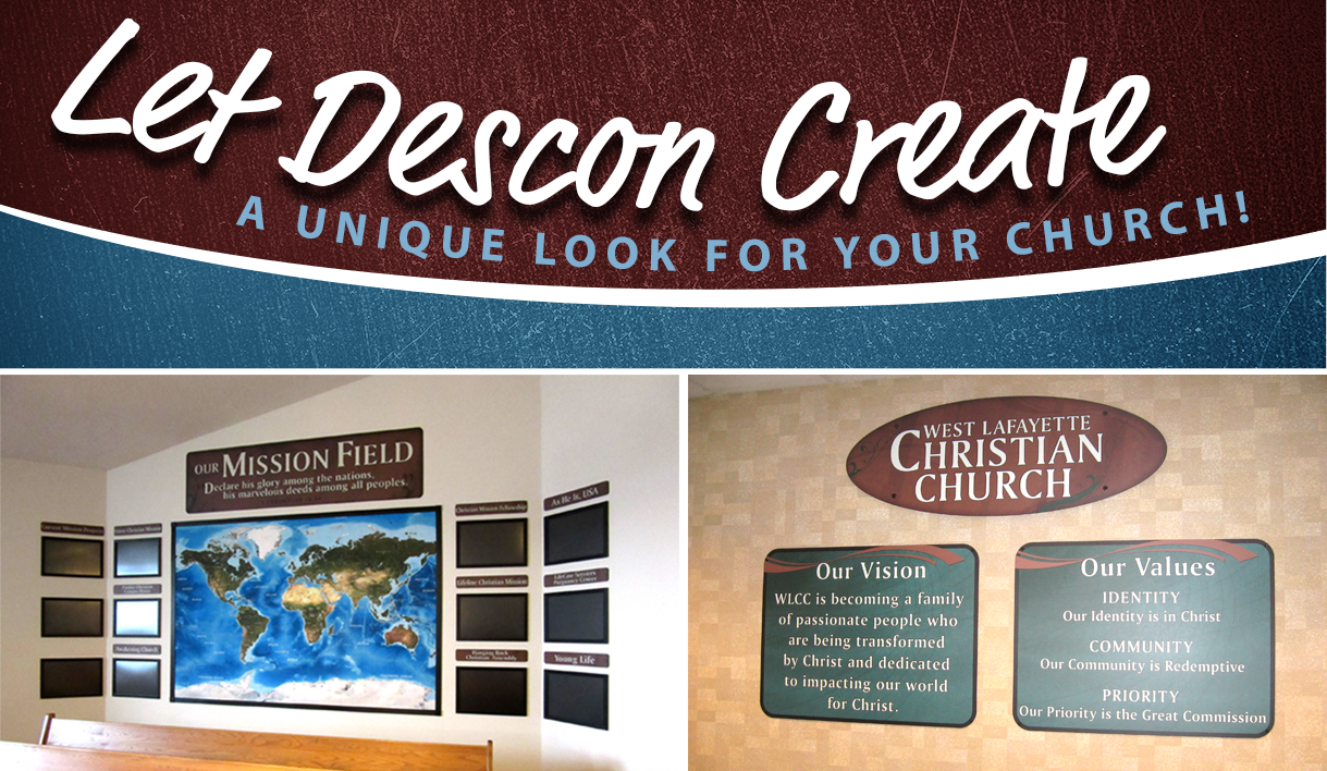 Custom signs and graphics display completed at churches, custom signs, flip open display frames