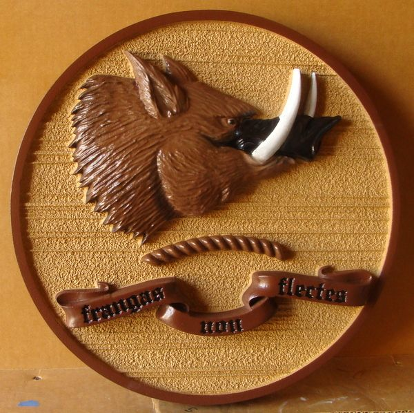 024617 – Carved  Wall Plaque with 3-D Wild Boar Head, with Latin Motto Inscribed on Banner