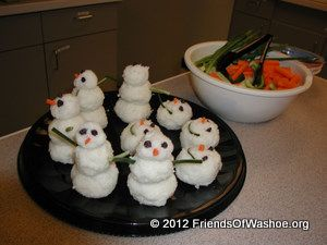 Snowmen made from rice