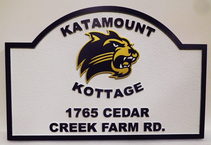 "M22914 -  Carved and Sandblasted Cottage  Sign ""Katamount Cottage""  features the Head of a Mountain lion"