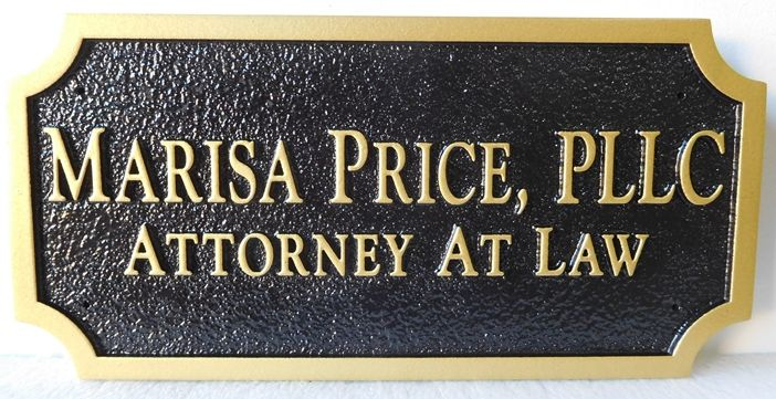 A10490 - Carved and  Sandblasted HDU Sign in Black and Gold for Office of Attorney at Law