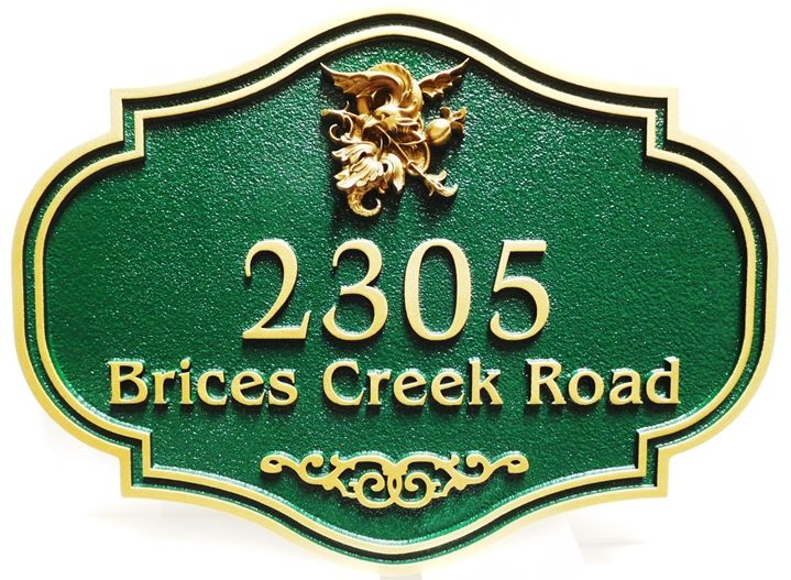 I18127 - Carved and Sandblasted residence Address Sign, with Ornate 3D  Artwork of a Bord on a Branch