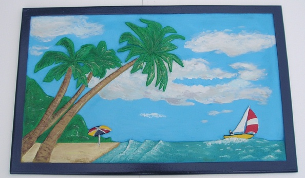 L21126 - Carved, Hand-Painted Sign with Ocean,Sky,Clouds, Sailboat, Beach Umbrella and Palm Trees
