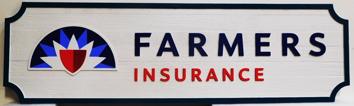 C12513-  Carved and Sandblasted HDU Farmer's Insurance  Company Sign, 2.5-D raised Text and Artwork