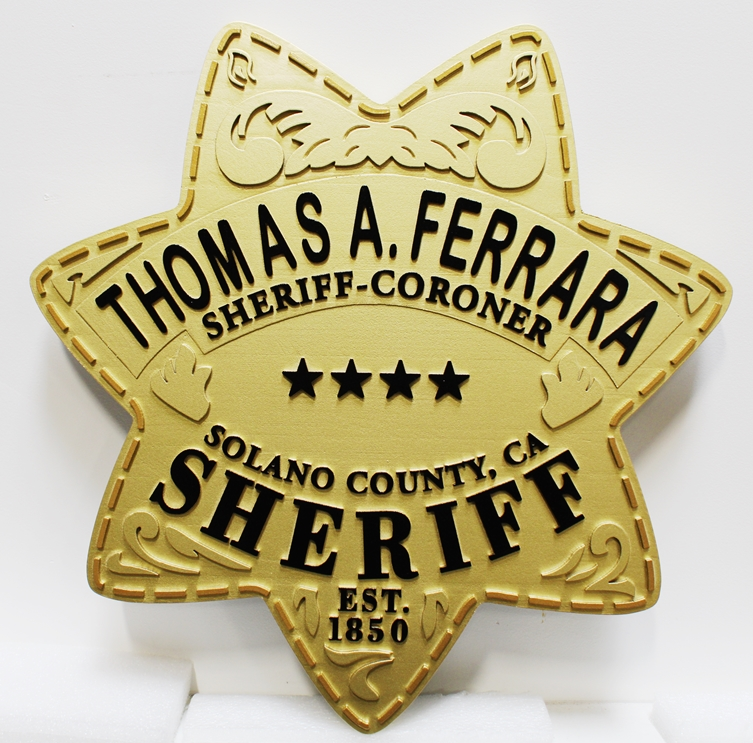 PP-1802 - Carved Plaque of the Star Badge of the Sheriff-Coroner Office, Solano County, California, 2.5-D Artist-Painted